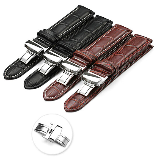 Sanwood® 【22 mm】Universal Faux Leather Watch Strap Band Fashion Business Foldable Clasp Wristband Malaysia