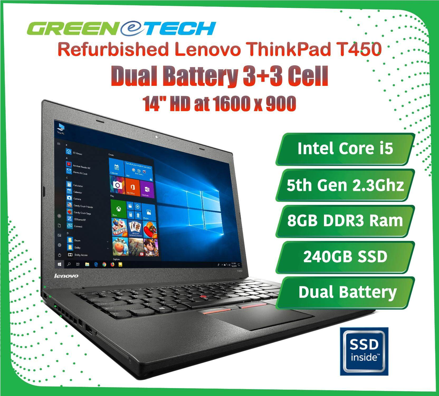 Refurbished Lenovo Thinkpad T450 Dual Battery (i5 5th Gen 2 3Ghz / 8GB DDR3  RAM / 240GB SSD /Win 8 Pro COA / WIn 10 Pro / Bag )(3 Month Warranty for