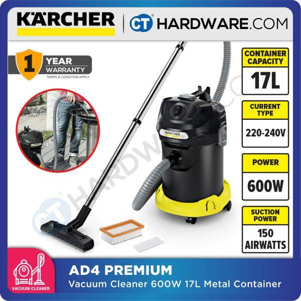 KARCHER AD4 PREMIUM DRY & BAGLESS VACUUM CLEANER 600W 17L METAL CONTAINER 150 AIR WATTS (16297310)