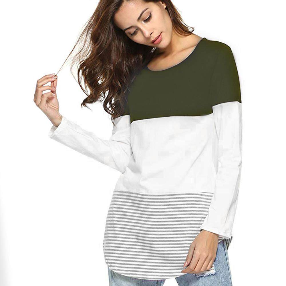 7b2a38d387 IDASIC Women Daily Casual Long Sleeve Striped Patchwork Stretchy Tops Blouse  T-Shirt