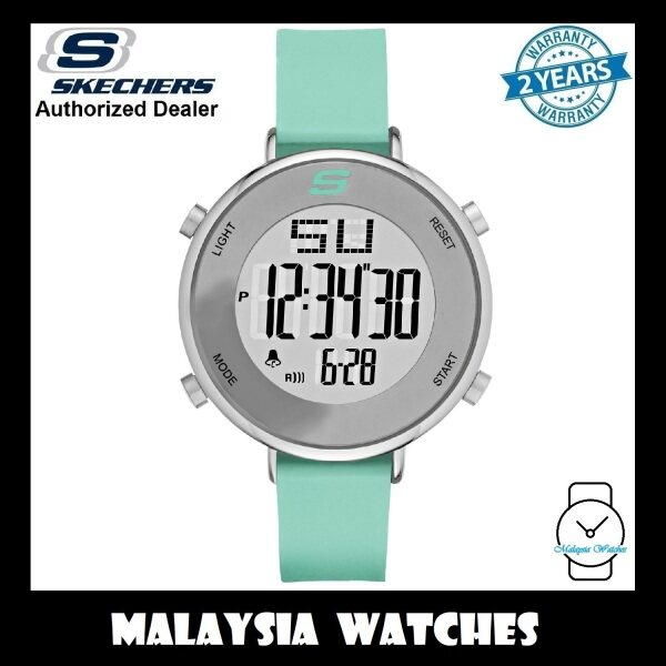 (OFFICIAL WARRANTY) Skechers SR6070 Magnolia Womens Quartz Digital Pastel Green Silicone Strap Watch (2 Years Warranty) Malaysia
