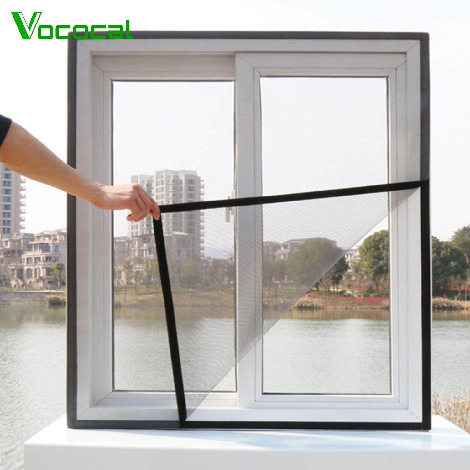 【In stock】Vococal 2PCS 1.5 x 2m DIY Self-adhesive Window Screen Netting Mesh Curtain with Hook and Loop Fastener Tape Invisible Insect Mesh Kit Mosquito Bee Close Mosquito Net Protector for Windows White/Black