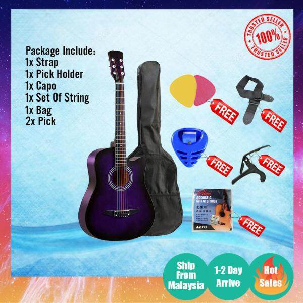 38 Acoustic Guitar with Bag, Strap, Pick & String Set/ Guitar COMBO buy 1 free 5 Malaysia