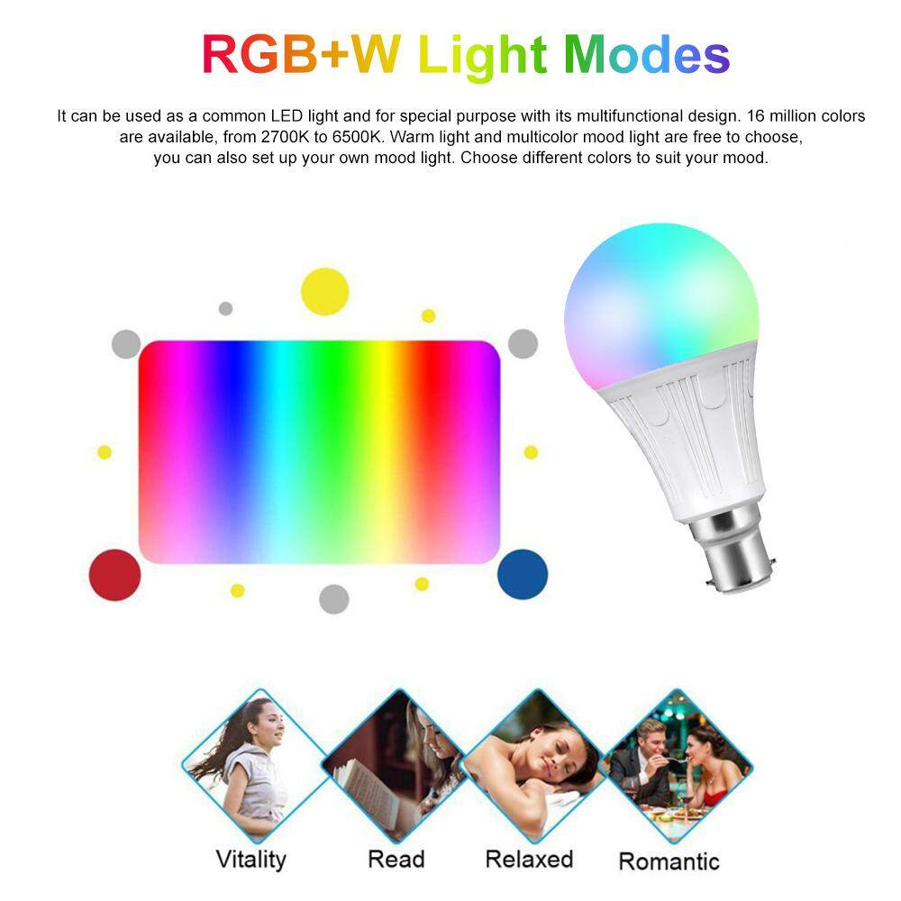 V12 Smart WIFI L-ED Bulb RGB+W LE-D Bulb 11W B22 Dimmable Light Phone Remote Control Group Control Compatible with Alexa Goo-gle Home Tmall Genie Voice Control Light Bulb