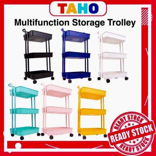 ♘◐  Trolley Rack 3 Tier Multifunction Storage Troli 3 Tingkat Rack Rak Buku trolley storage Office Shelf Kitchen Rack Taho