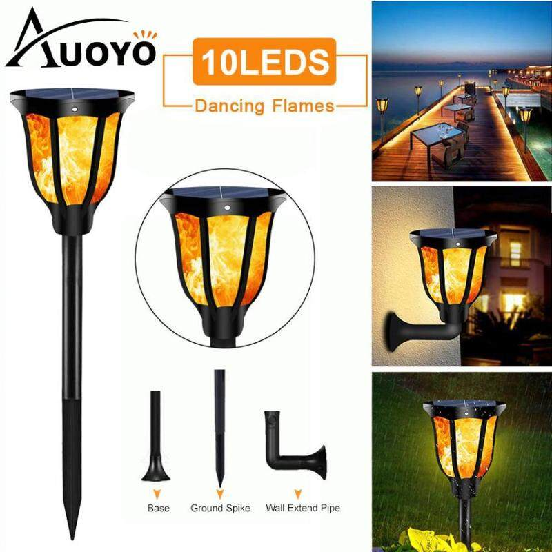 Auoyo 10LEDs Solar Flame Light Outdoor Lighting Flashing Flame Effect Solar Garden Light Waterproof Landscape Decorative Street Light Auto On/Off Dusk to Dawn for Garden Pathway Yard