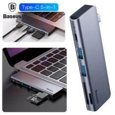 Baseus Xám 5 trong 1 Hub USB Loại C USB 3.0*2/SD/TF cho máy Tính Macbook Pro Phụ Kiện với Loại C Nguồn Điện PD