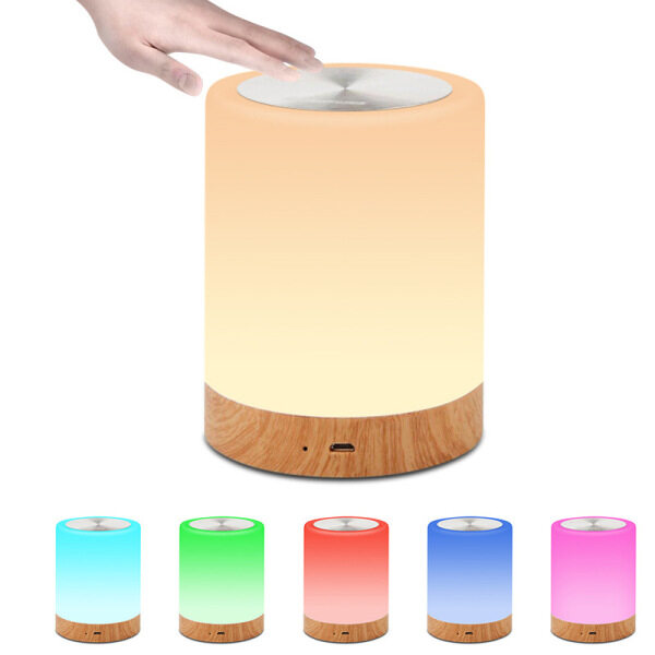 【SZS】Portable Night Light USB Rechargeable Dimmable Warm White Color Changing RGB Touching Control Bedside Table Desk Lamps