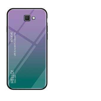 สำหรับ Galaxy J7 PRIME Gradient สีกระจกเทมเปอร์ปลอกแก้วฝาหลังกันชน TPU อ่อนกรณี-