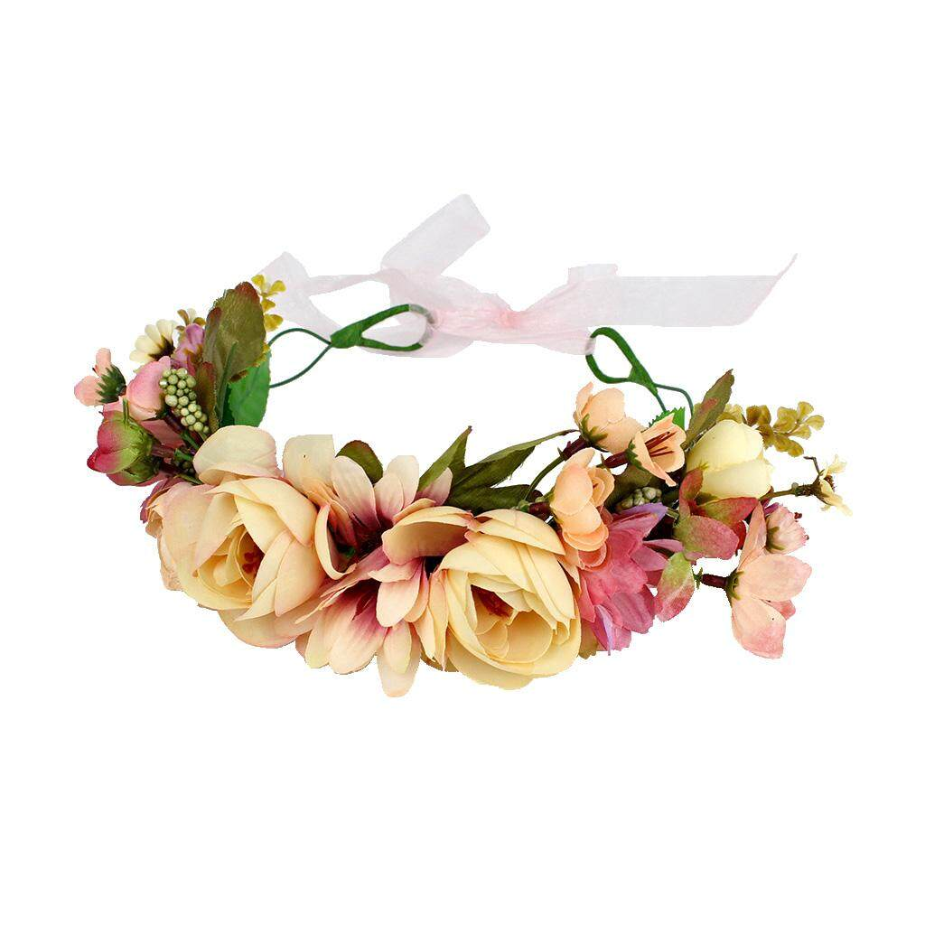 Fenteer Boho Girls Floral Crown Flower Headband Hair Garland Wedding Headpiece