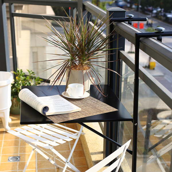 Balcony Railing Hanging Table Folded Convenient Hanging Computer Desk Household Mini-Bar Creative Height Adjustable Desk Table Single Person