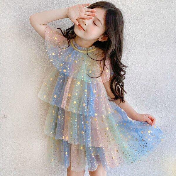 Giá bán Đầm Bé Gái Đầm Mùa Hè Bé Gái Meisjes Xếp Lớp Tiệc Sinh Nhật 2021 Dễ Thương Cho Trẻ Em Jurk Meisje