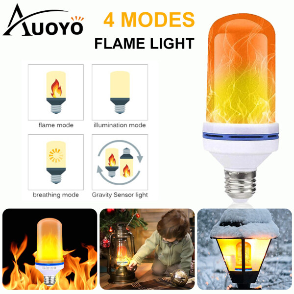 Auoyo Led Flame Bulb Fire Flickering LED Lights Decorative Lighting with 4 Modes Emulation /Gravity Sensing/General/Breath E27 Standard Base for Bar Festival Party Christmas