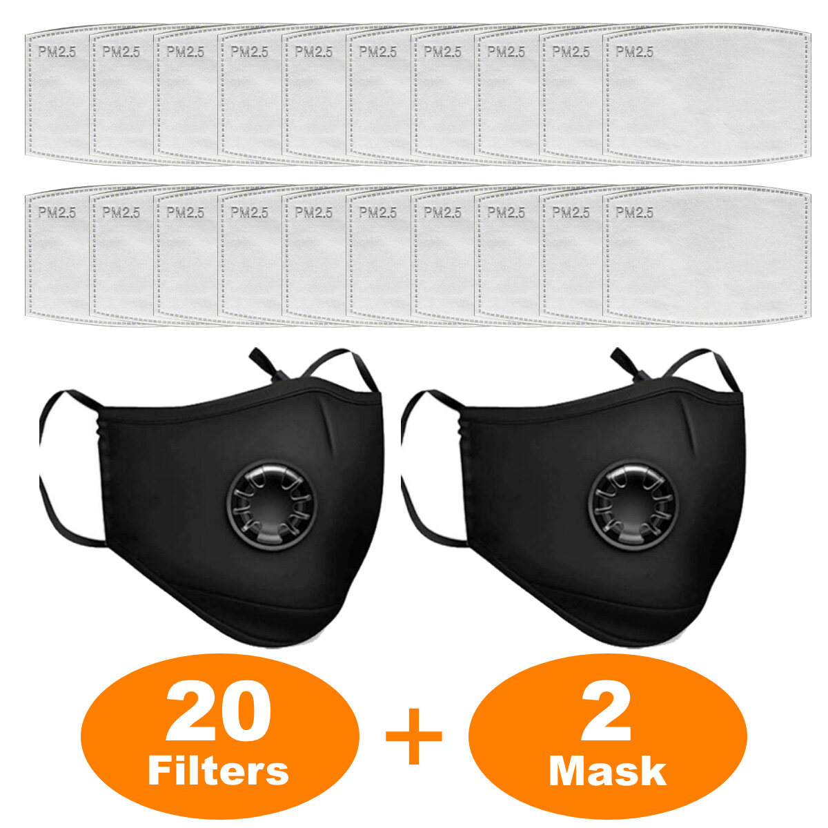 VITAENEN 20Pieces +2,PM2 5 Activated Carbon Filter Breathing Insert Protective Filters,in stock