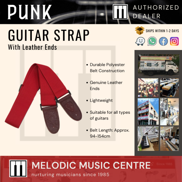 Punk Adjustable Polyester Guitar Strap with leather ends (Red) Malaysia