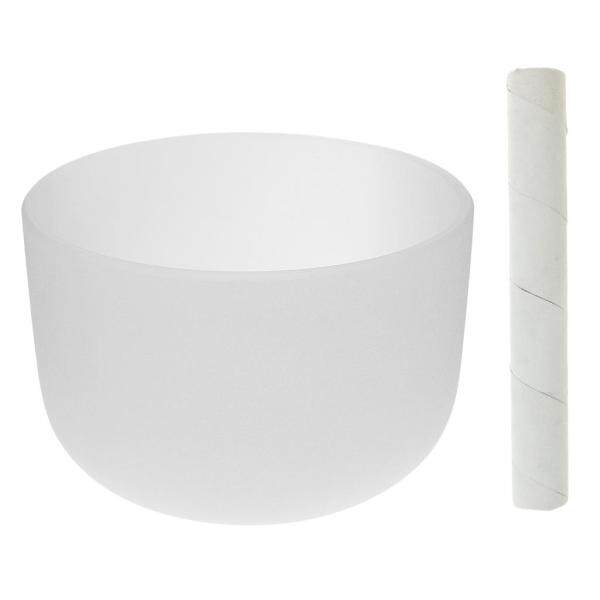 Miracle Shining Frosted F note Heart Chakra Crystal Singing Bowl 8 Inch White +Suede Mallet