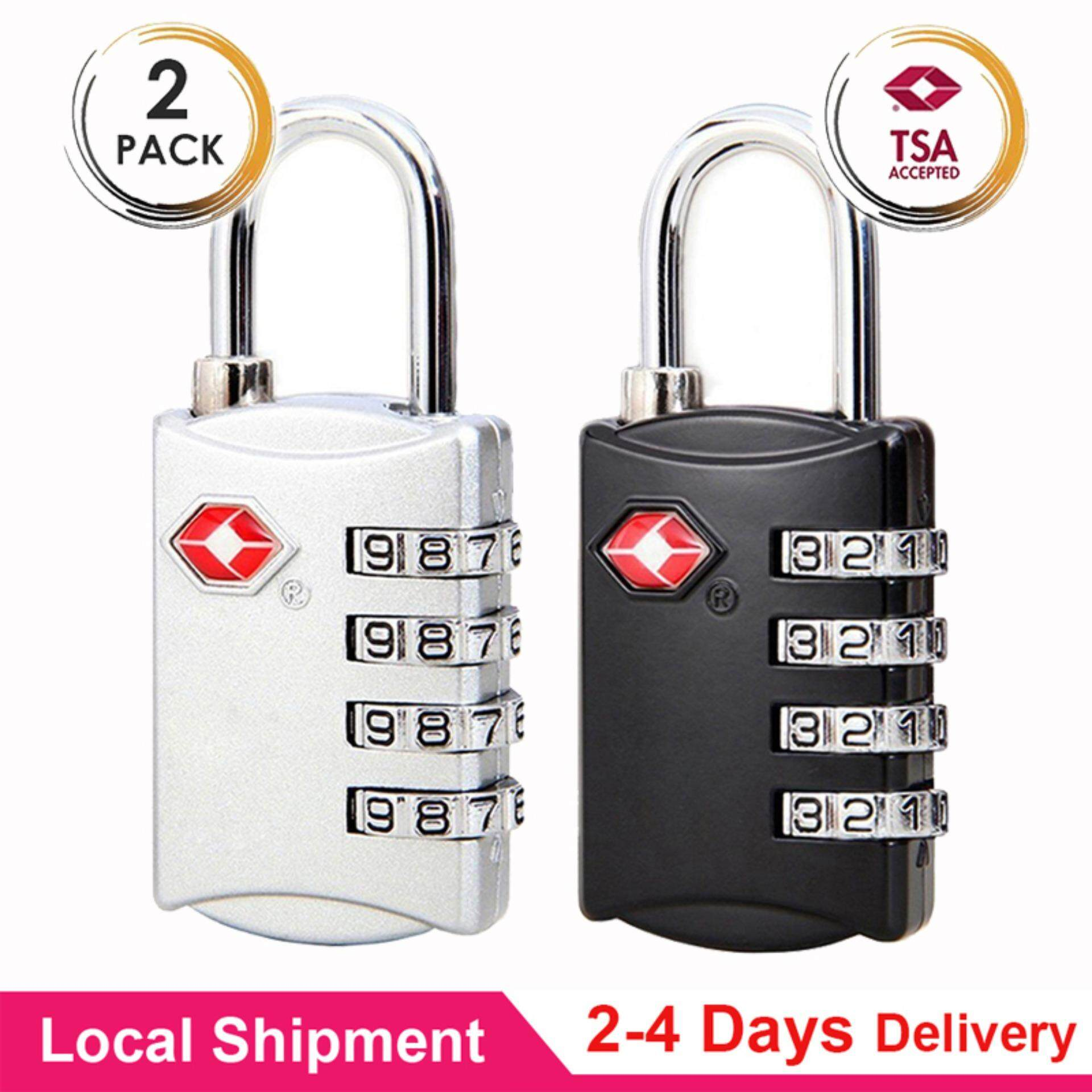 2 PCS Q-shop TSA Approved Luggage Travel Lock, 4 Rows Digital TSA  Combination Travel Luggage Zinc Alloy Lock Password Padlock for School Gym