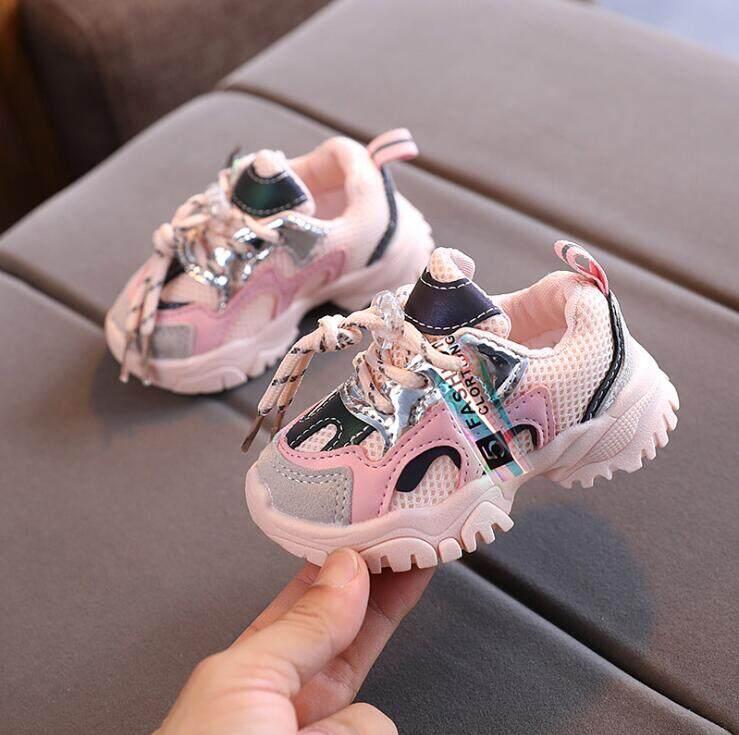 Trẻ Em Giày Thể Thao Giải Trí Giày Trắng Trẻ Em Giày Thể Thao Có Móc Cho Bé Trai Và Bé Gái Giày Chạy Bộ Lưới Thường Ngày Cho Bé Tập Đi Mới