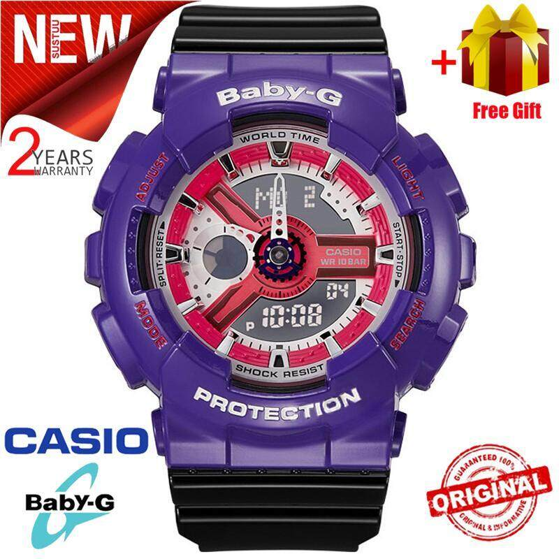 (Ready Stock) Original Casio Baby G_BA-110NC-6AMen Sport Watch Duo W/Time 200M Water Resistant Shockproof and Waterproof World Time LED Auto Light Wist Sports Watches with 2 Year Warranty BA110/BA-110 Malaysia