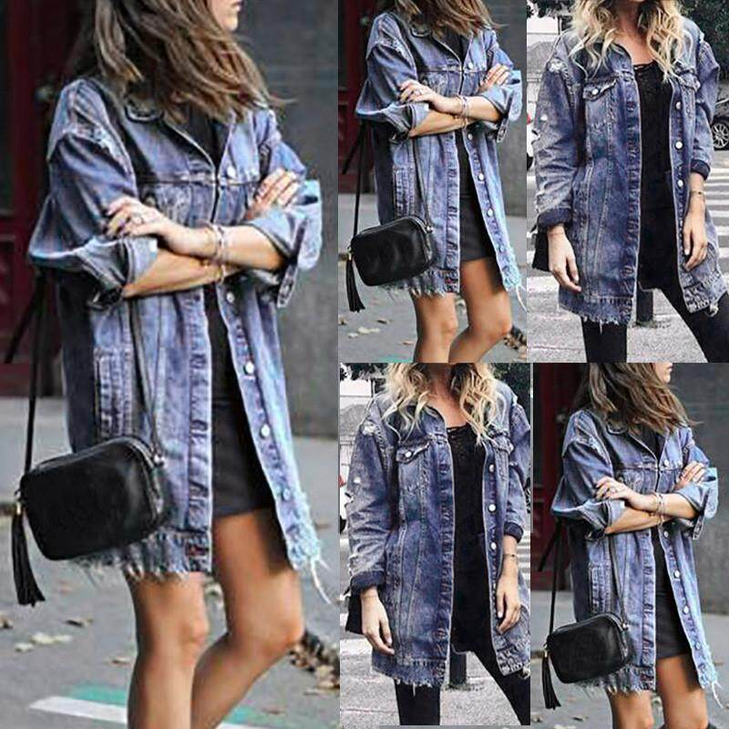 Qusaystore Women Ripped Long Denim Coat Ladies Casual Jacket Outwear Jeans Overcoat