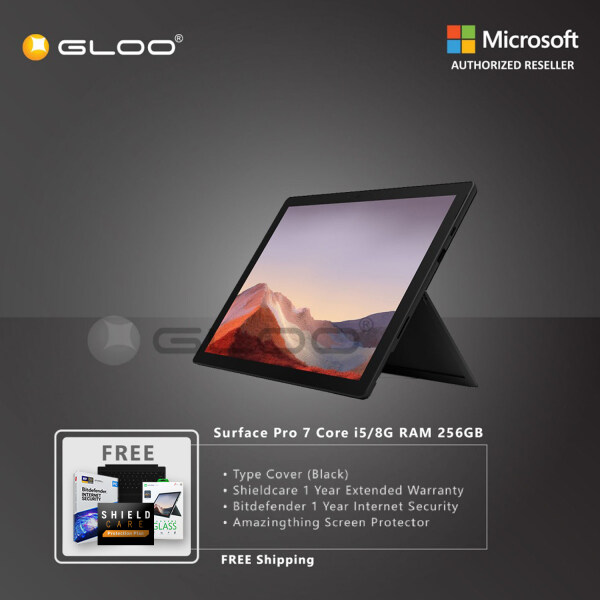 Microsoft Surface Pro 7 Core i5/8G RAM - 256GB Black - PUV-00025 + Shieldcare 1 Year Extended Warranty + Bitdefender 1 Year Internet Security + Microsoft 365 Personal (ESD) Malaysia