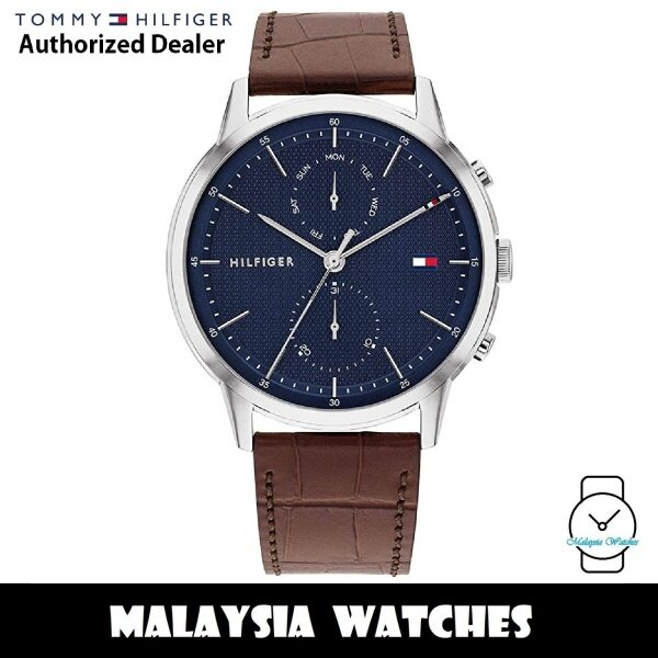 (100% Original) Tommy Hilfiger 1710436 Easton Quartz Blue Dial Stainless Steel Case Brown Leather Strap Mens Watch (2 Years International Warranty) Malaysia