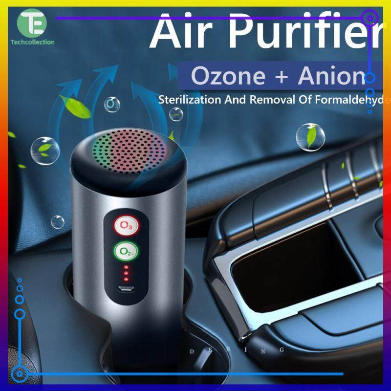 【Techcollection】Car Air Purifier USB Rechargeable Anti Bacterial Odor Eliminator Air Freshener Singapore