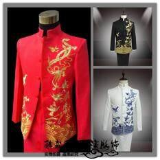 Áo Khoác + Quần Bộ Com Lê Nam Hàng Mới Về Cổ Áo Đứng Áo Dài Trung Quốc Thêu Bộ Tuxedo Nam Phong Cách Trung Quốc Váy Cưới