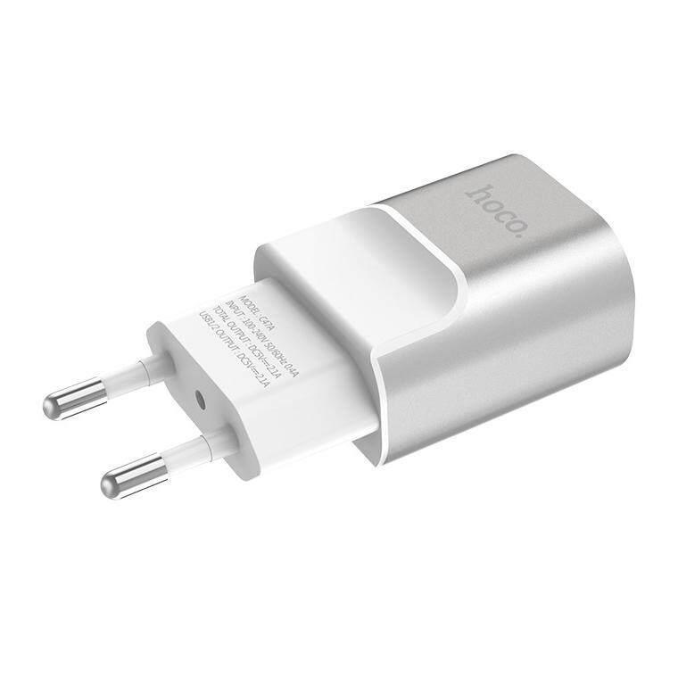 Hoco C47A 2.1A Đầu Ra Hợp Kim Dual-Cổng USB Adapter Sạc, Phích Cắm Châu Âu (Bạc)
