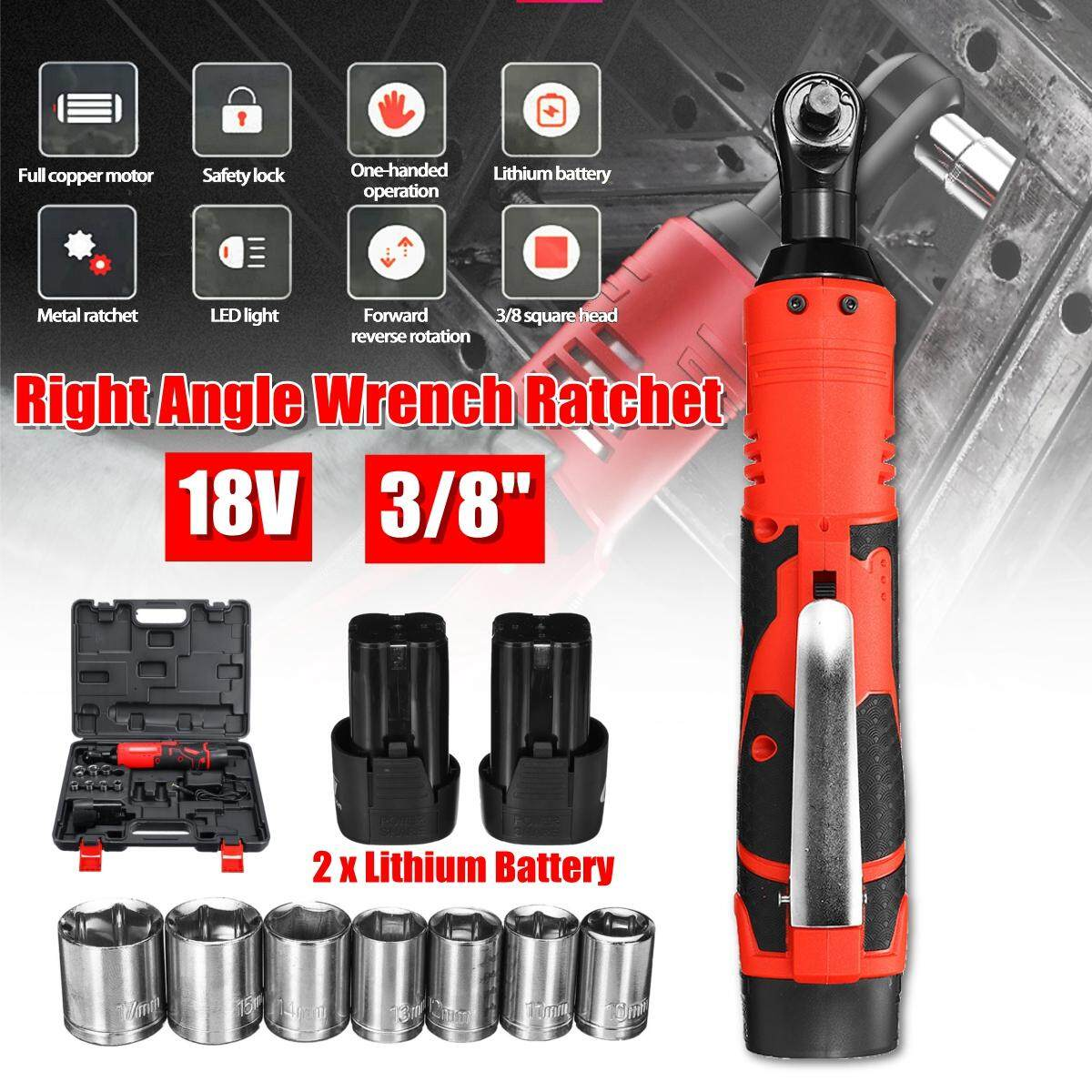 3/8 18V 60N.m 230RPM Portable Rechargeable LED Lighting Electric Ratchet 90° Right Angle Wrench Set