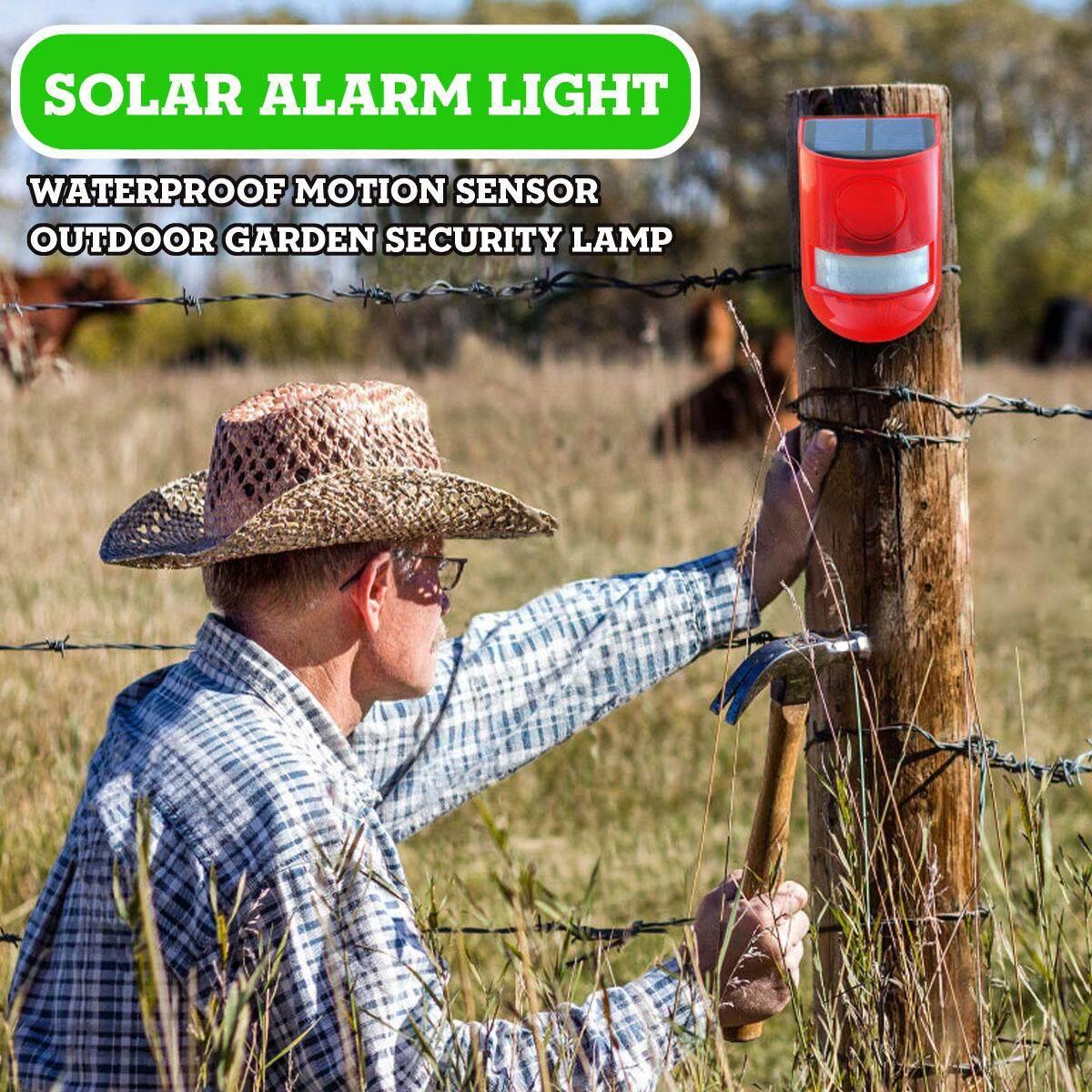 Solar Alarm Light Wireless Waterproof Motion Sensor Outdoor Garden Security Lamp