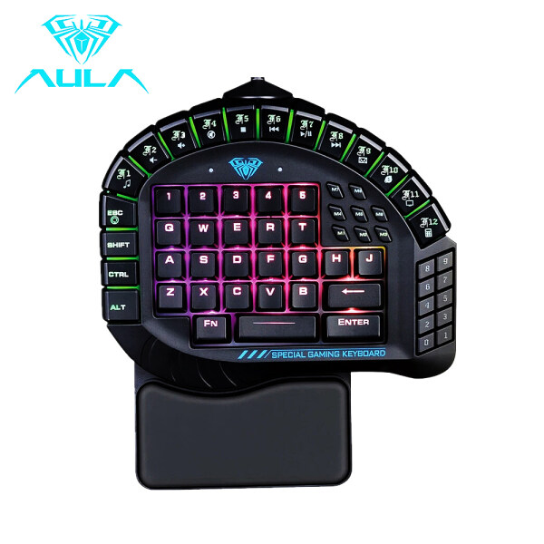AULA Mechanical Keyboard Control 60 Keys Single Hand Gaming Keyboard RGB Backlight Gaming Keyboard N-key Rollover Blue Switch Singapore