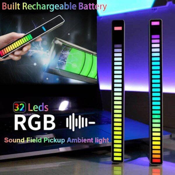 32 LED Strip Light Sound Control Pickup Rhythm Light Music Atmosphere Light RGB Music Light USB Lighting Colorful Lamp For Car Bar Party Computer Desktop Decorative Light