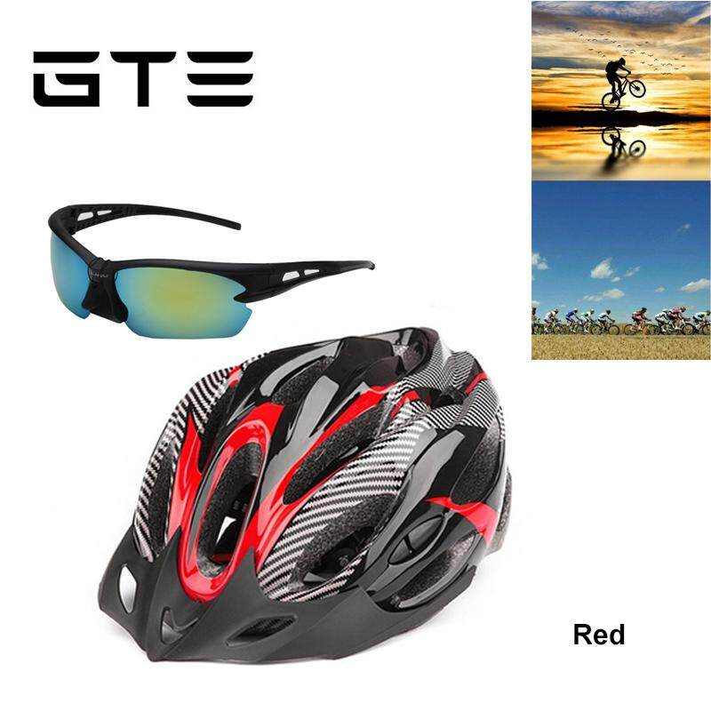 GTE Adjustable Mountain Bicycle Road Bike Cycling Helmet Pair With Sunglasses - Fulfilled by GTE SHOP