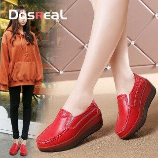DOSREAL Nêm Giày Cao Gót Nữ Giày Lười Đế Bằng, Hot Bán Giày Da Thật Hợp Thời Trang Hàn Quốc Cho Mẹ, Giày Thể Thao Nữ Đi Bộ Cỡ Lớn 41 thumbnail