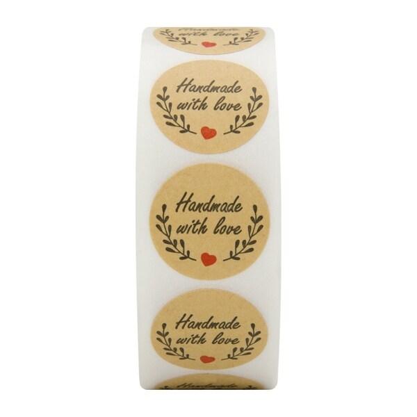 Mua 500 Handmade With Love Stickers Scrapbooking Hand Made Handmade Label Wedding Stickers Adhesive Sticker Kraft Round Labels