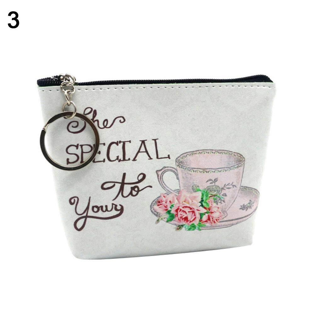 5b56eefff4af Fashionhead Vintage Tea Cup Flower Printed Portable Women Mini Wallet Card  Holder Coin Purse