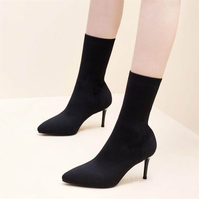 Wool Stretch Socks Boots Stiletto High Heel Boots Women Martin Boots Womens Shoes Were Thin Female Boots By Mygloves.