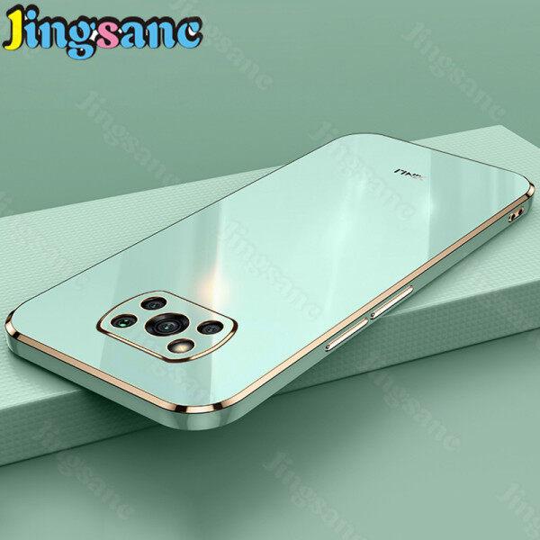 Jingsanc Dành Cho Xiaomi Ốp Điện Thoại POCO X3 NFC/POCO X3 Pro, Ốp Cạnh Vuông Thẳng Mạ Điện Silicon TPU Mềm Sang Trọng Ốp Lưng Ống Kính Bao Gồm Tất Cả Màu Kẹo Đơn Giản Chống Sốc