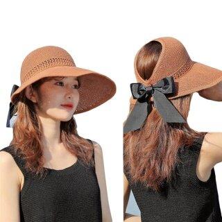 HengSong Phụ Nữ Nơ Rỗng Mũ Che Nắng Mùa Hè Lớn Mũ Rơm Lớn Rộng Vành Mũ Đi Biển Có Thể Gập Lại Chống Ánh Nắng Mặt Trời Cap thumbnail