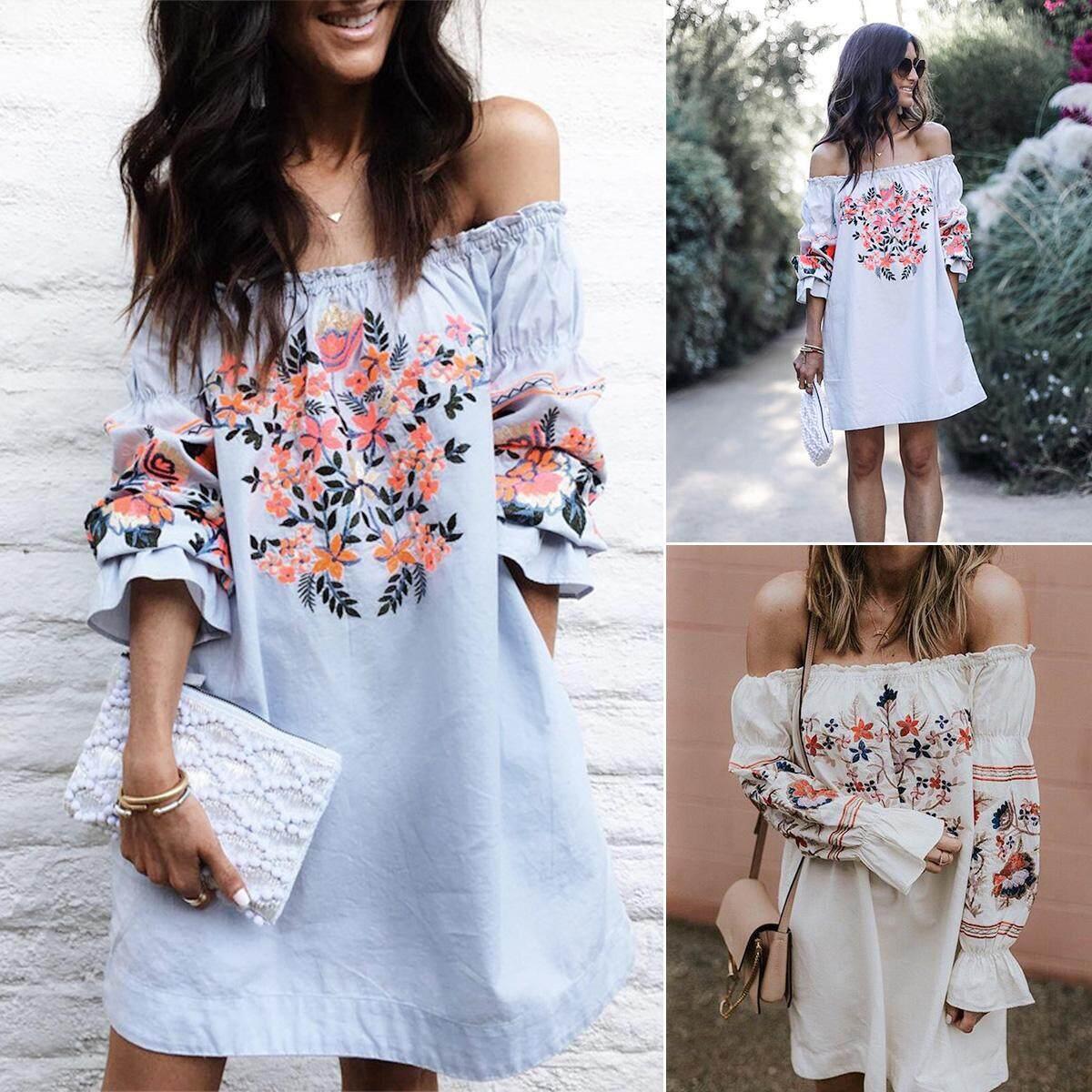 054795d80ba9 Women Boho Casual Flower Long Sleeve Boat Neck A-line Dress Evening Party  Beach Sundress