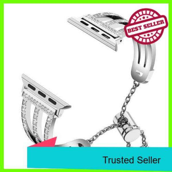 Three-row Diamonds Adjustment Chain Metal Alloy Stainless Steel Strap Watchband Replacement Smart Watch Accessory (Silver) Malaysia