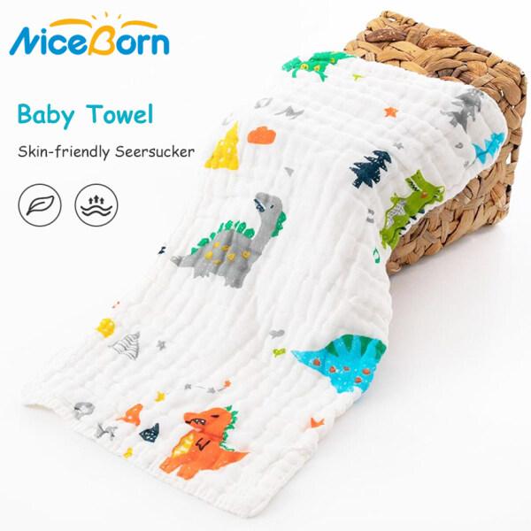 NiceBorn Bộ 3 chiếc khăn tắm cho trẻ sơ sinh, bằng cotton muslin 6 lớp mềm mại thoáng khí thấm hút nhanh khô (Giao màu ngẫu nhiên)
