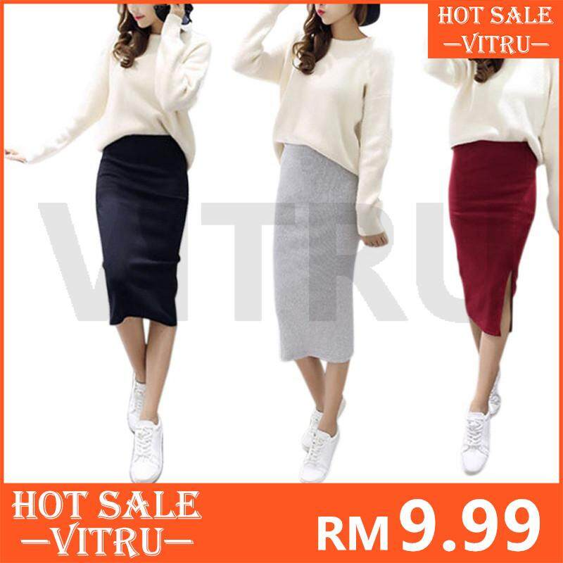 4cdccf3e2a1 Y19-0055 Cutebutton Hip Skirt Slit Skirts Stretch Slim Thin Waist Knee  Length Skirts
