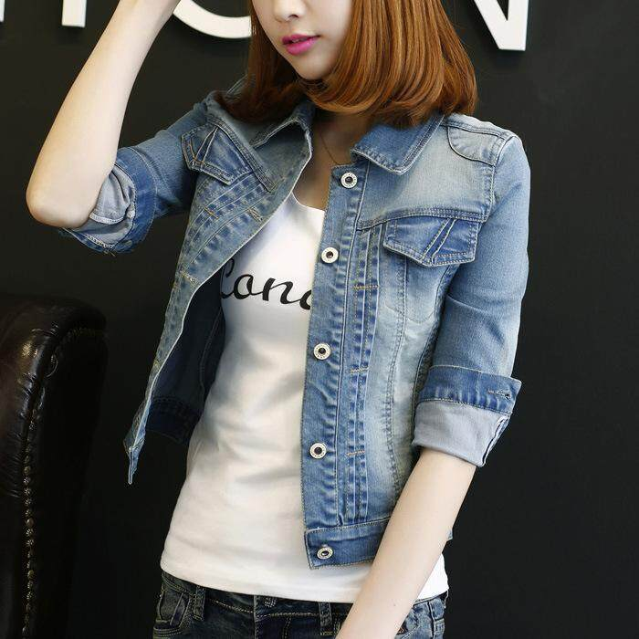Womens Korean-Style Large Size 3/4 Long-Sleeved Short Denim Jacket (light Blue Long-Sleeved) (light Blue Long-Sleeved) By Yiyi Fashion.