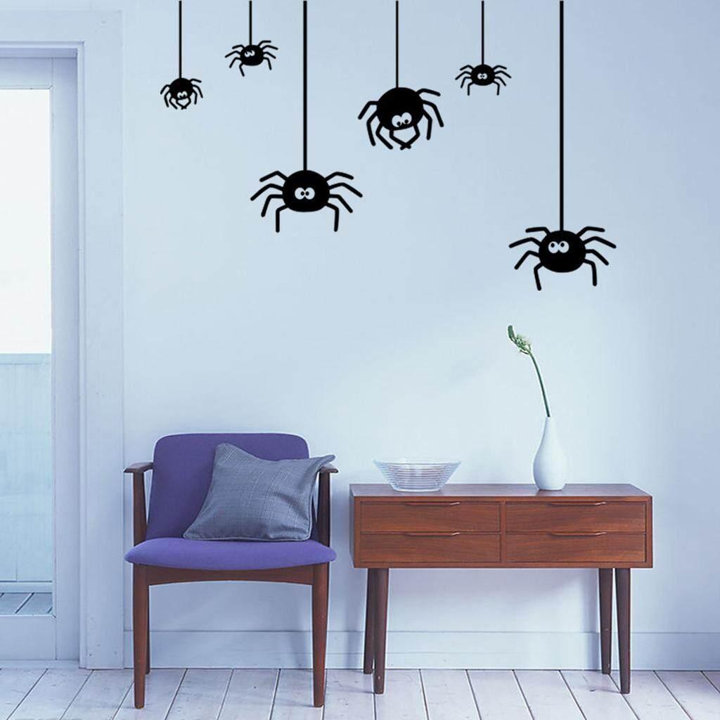 BolehDeals 5 Spiders PVC Waterproof Halloween Wall Sticker Halloween Wall Door Decor