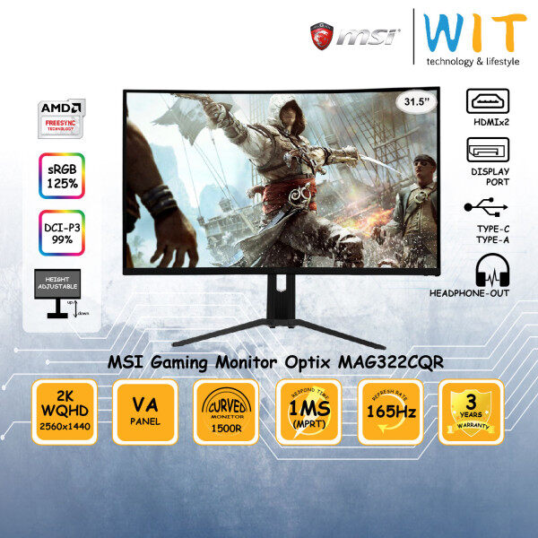 MSI Gaming Monitor Optix MAG322CQR 31.5 Curved 1500R/ 1ms(MPRT) / 165Hz / 2K WQHD 2560x1440 / VA Panel / HDMIx2 / DP / Type-C / Type-A / Headphone-out / Height Adjustable Stand / sRGB 125% / DCI-P3 99% / Free-Sync Malaysia