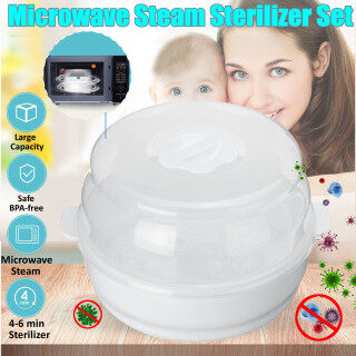 Bình Sữa Trẻ Em Bộ Tiệt Trùng Hơi Nước Lò Vi Sóng, Hộp Đựng 6 Bình Sữa Vừa Vặn Không BPA An Toàn Hộp Đựng Khử Trùng-Trắng thumbnail