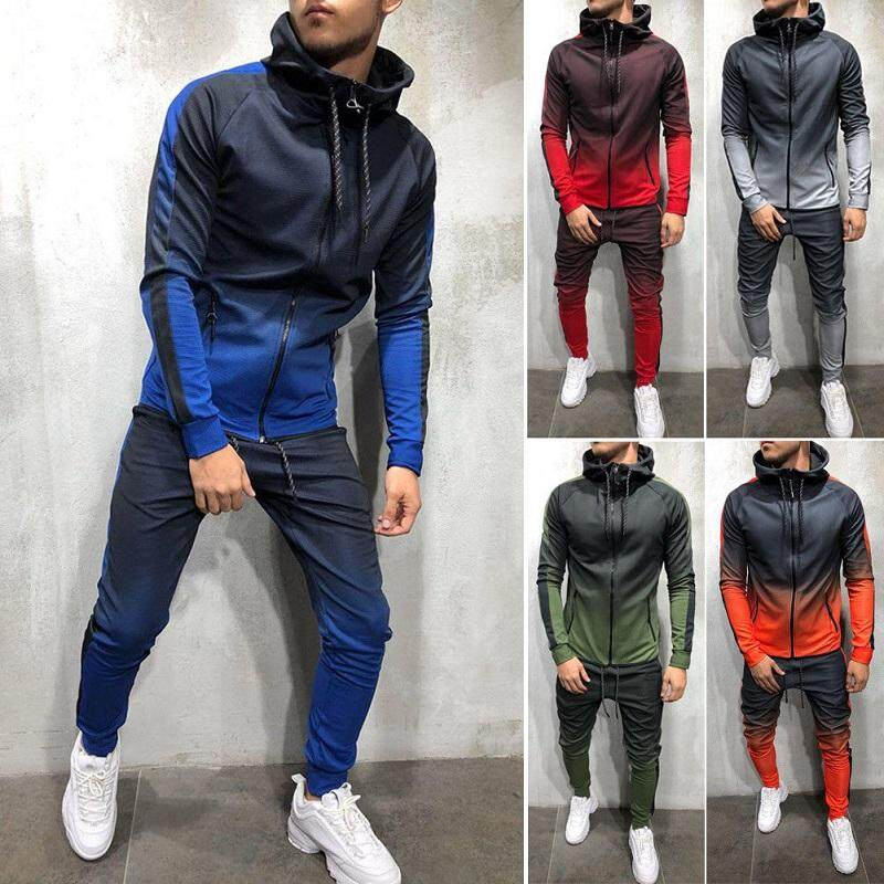 Mens Tracksuit Set Hoodie Top & Bottoms Joggers Gym Plain Zip Pockets Slim Fit By Marys.