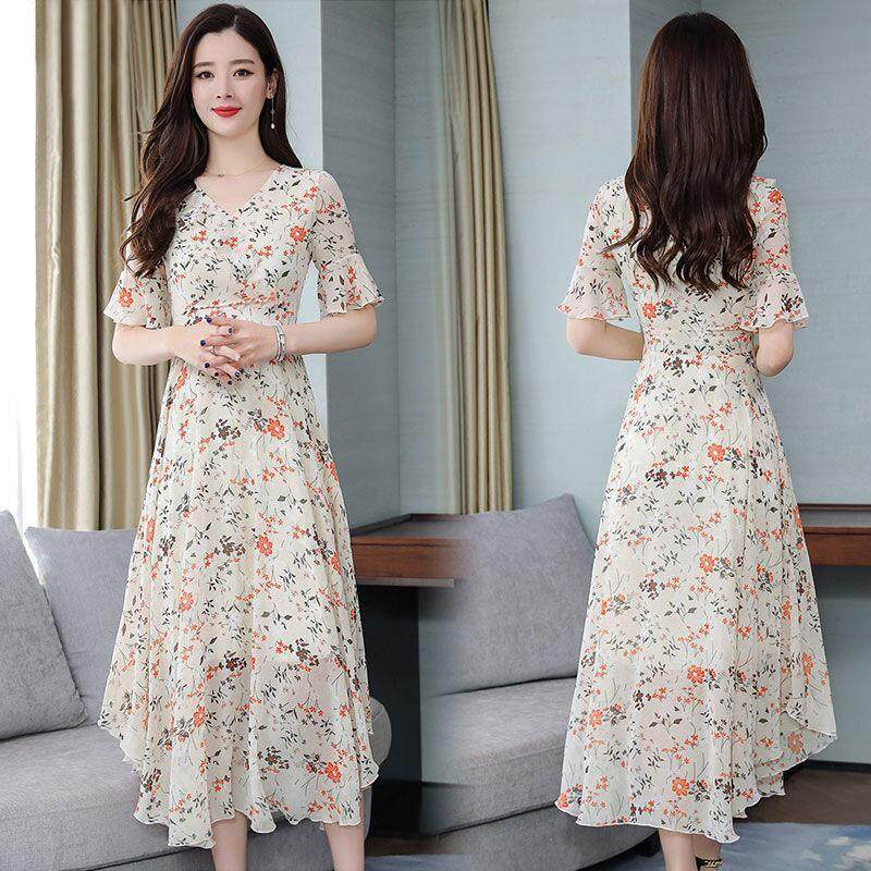 d04a48d34347 Xiziy Women Floral Long Dress Korean Style V-neck Pagoda Sleeve Beach Wear  Maxi Dress